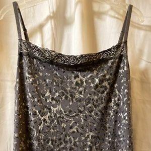 Fashion Bug 1x leopard print shiny cami w lace